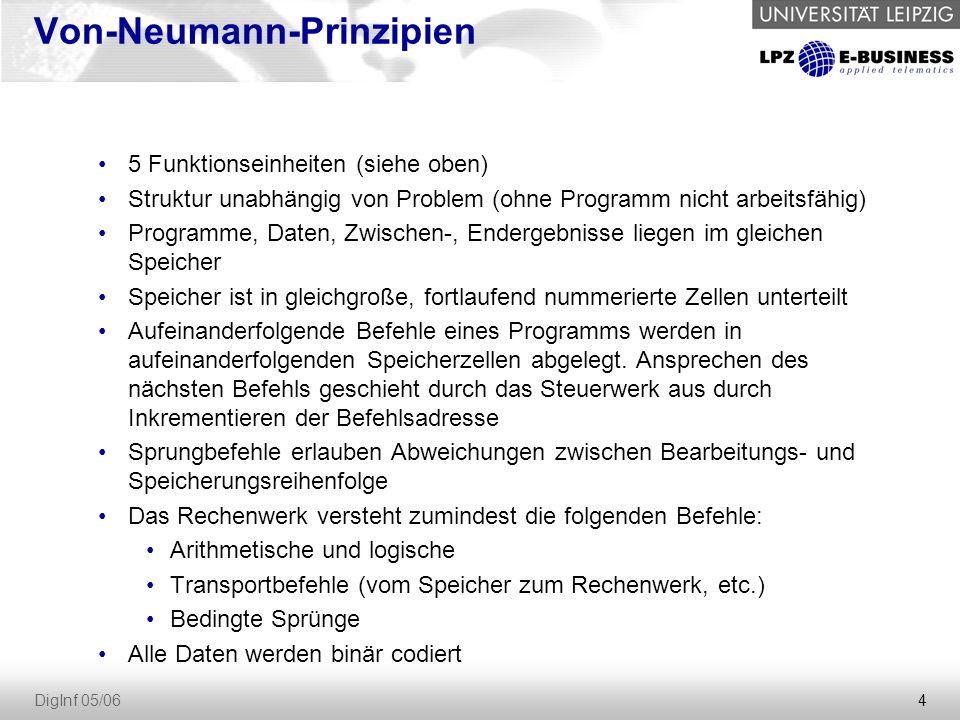 4 DigInf 05/06 Von-Neumann-Prinzipien 5 Funktionseinheiten (siehe oben) Struktur unabhängig von Problem (ohne Programm nicht arbeitsfähig) Programme, Daten, Zwischen-, Endergebnisse liegen im gleichen Speicher Speicher ist in gleichgroße, fortlaufend nummerierte Zellen unterteilt Aufeinanderfolgende Befehle eines Programms werden in aufeinanderfolgenden Speicherzellen abgelegt.