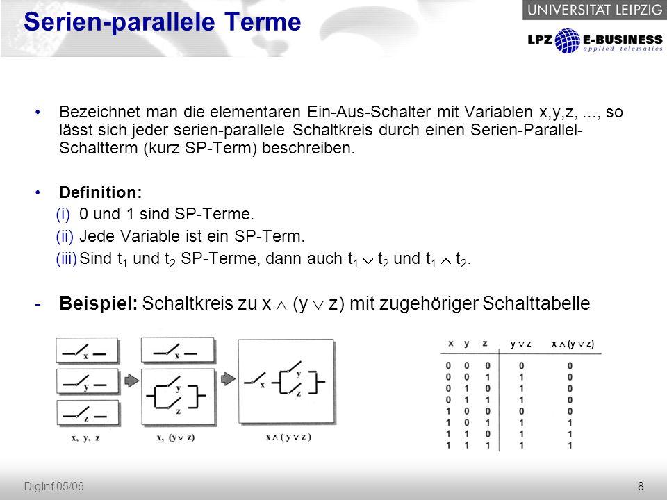 39 DigInf 05/06 ALU 1-Bit-ALU (3 Eingänge zur Kodierung von 8 Operationen), zwei Operanden (x,y), ein Carry (ci), ein Ergebnis (z), ein Übertrags-Carry (ci+1).