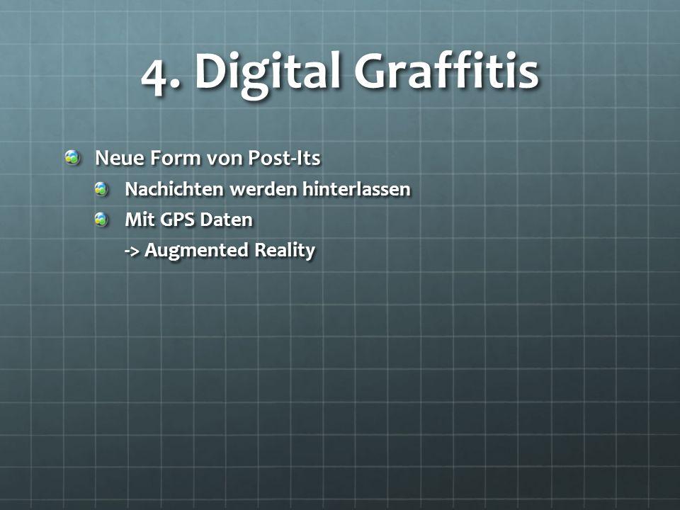 4. Digital Graffitis Neue Form von Post-Its Nachichten werden hinterlassen Mit GPS Daten -> Augmented Reality