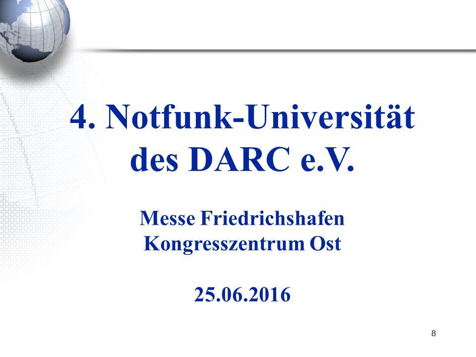 8 4. Notfunk-Universität des DARC e.V. Messe Friedrichshafen Kongresszentrum Ost 25.06.2016