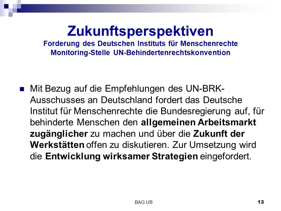 Zukunftsperspektiven Forderung des Deutschen Instituts für Menschenrechte Monitoring-Stelle UN-Behindertenrechtskonvention Mit Bezug auf die Empfehlun