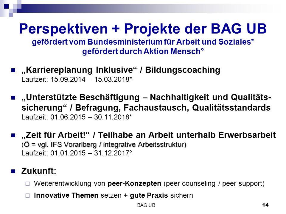"""Perspektiven + Projekte der BAG UB gefördert vom Bundesministerium für Arbeit und Soziales* gefördert durch Aktion Mensch° """"Karriereplanung Inklusive"""""""