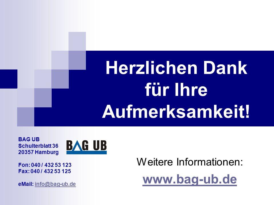 Herzlichen Dank für Ihre Aufmerksamkeit! Weitere Informationen: www.bag-ub.de BAG UB Schulterblatt 36 20357 Hamburg Fon: 040 / 432 53 123 Fax: 040 / 4