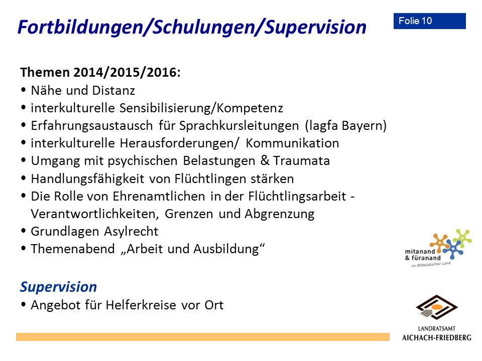 Folie 10 Themen 2014/2015/2016:  Nähe und Distanz  interkulturelle Sensibilisierung/Kompetenz  Erfahrungsaustausch für Sprachkursleitungen (lagfa B