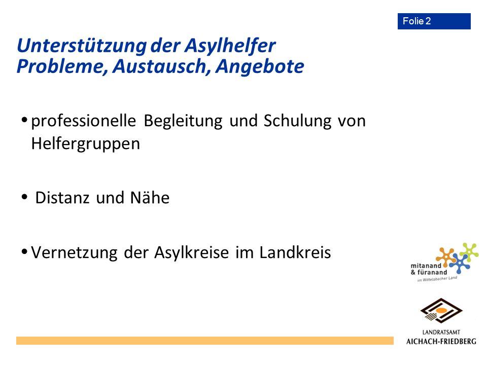 Folie 2 Unterstützung der Asylhelfer Probleme, Austausch, Angebote  professionelle Begleitung und Schulung von Helfergruppen  Distanz und Nähe  Vernetzung der Asylkreise im Landkreis