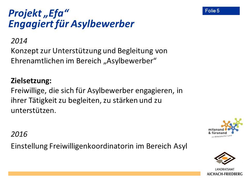 """Folie 5 2014 Konzept zur Unterstützung und Begleitung von Ehrenamtlichen im Bereich """"Asylbewerber Zielsetzung: Freiwillige, die sich für Asylbewerber engagieren, in ihrer Tätigkeit zu begleiten, zu stärken und zu unterstützen."""
