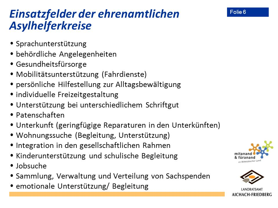 Folie 6 Einsatzfelder der ehrenamtlichen Asylhelferkreise  Sprachunterstützung  behördliche Angelegenheiten  Gesundheitsfürsorge  Mobilitätsunters