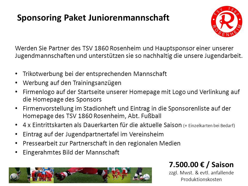 Jugendförderverein Treten sie dem Jugendförderverein des TSV 1860 Rosenheim bei und unterstützen sie die Jugendarbeit langfristig und zielgerichtet.