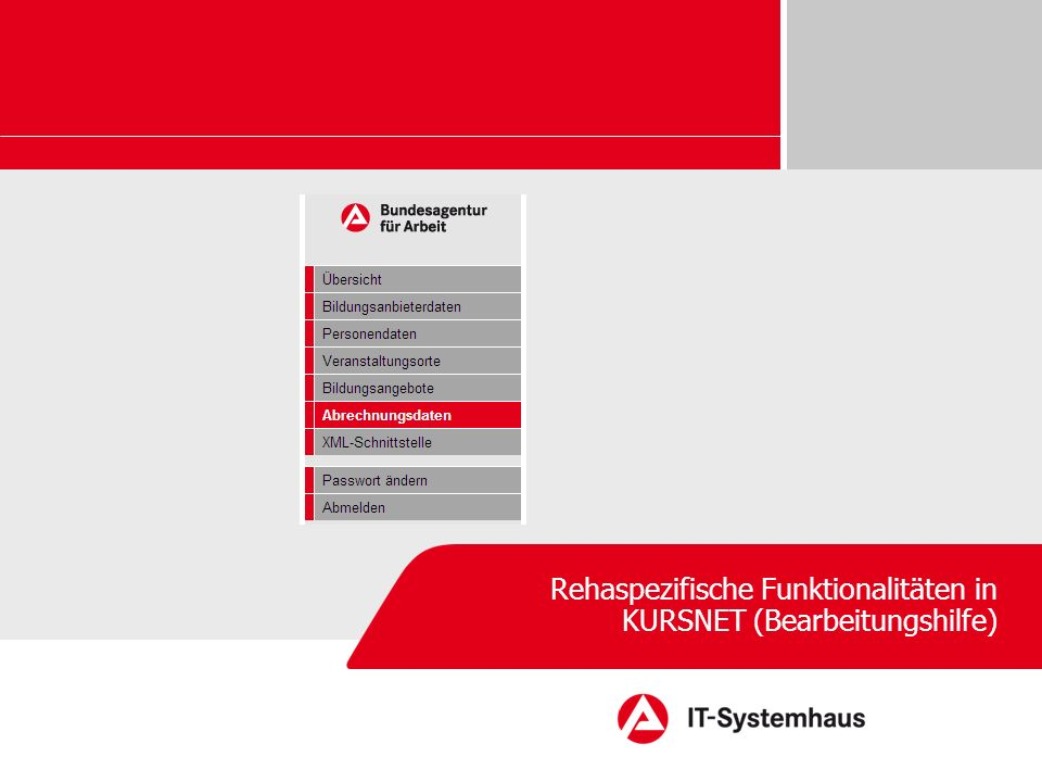 Rehaspezifische Funktionalitäten in KURSNET (Bearbeitungshilfe)