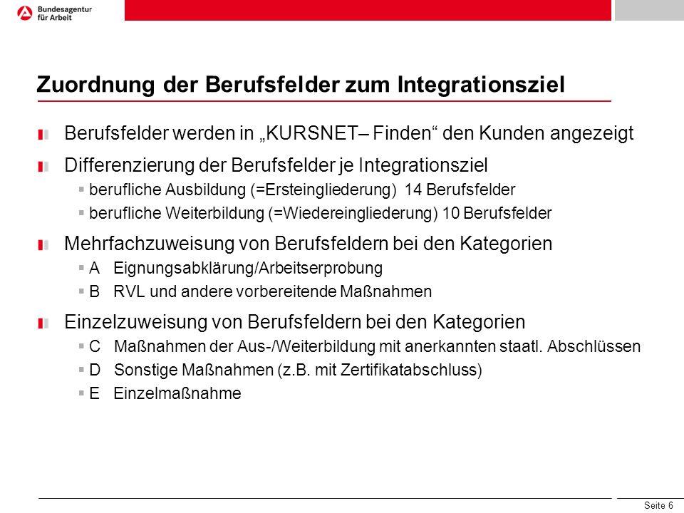 """Seite 6 Zuordnung der Berufsfelder zum Integrationsziel Berufsfelder werden in """"KURSNET– Finden"""" den Kunden angezeigt Differenzierung der Berufsfelder"""