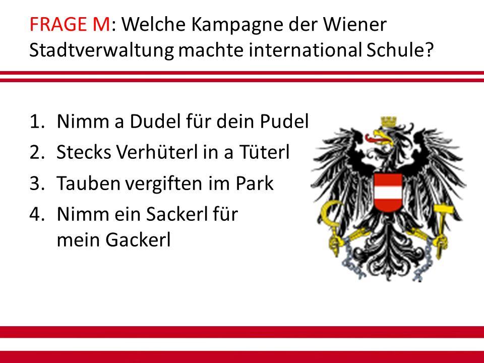 FRAGE M: Welche Kampagne der Wiener Stadtverwaltung machte international Schule.