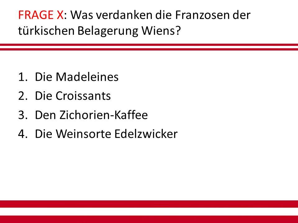FRAGE X: Was verdanken die Franzosen der türkischen Belagerung Wiens.