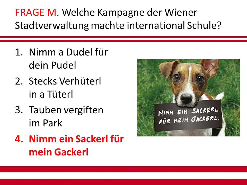 FRAGE M. Welche Kampagne der Wiener Stadtverwaltung machte international Schule.