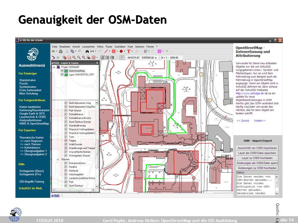 FOSSGIS 2010 Folie 14 Gerd Peyke, Andreas Heiken: OpenStreetMap und die GIS-Ausbildung Genauigkeit der OSM-Daten Quelle: Eigene Darstellung.