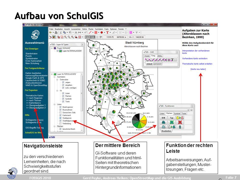 FOSSGIS 2010 Folie 7 Gerd Peyke, Andreas Heiken: OpenStreetMap und die GIS-Ausbildung Aufbau von SchulGIS Navigationsleiste zu den verschiedenen Lerneinheiten, die nach Schwierigkeitsstufen geordnet sind.