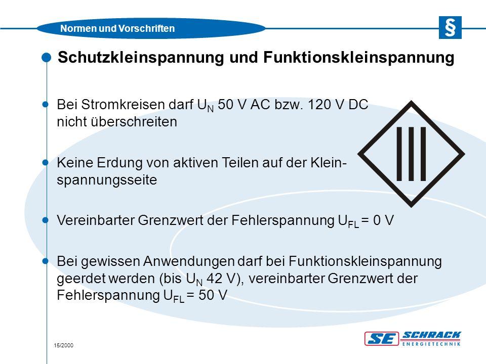 Normen und Vorschriften 15/2000 Schutzkleinspannung und Funktionskleinspannung · Bei Stromkreisen darf U N 50 V AC bzw.