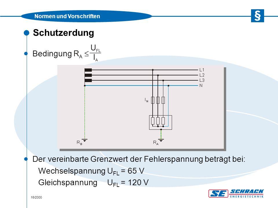 Normen und Vorschriften 16/2000 Schutzerdung · Der vereinbarte Grenzwert der Fehlerspannung beträgt bei: WechselspannungU FL = 65 V GleichspannungU FL = 120 V · Bedingung