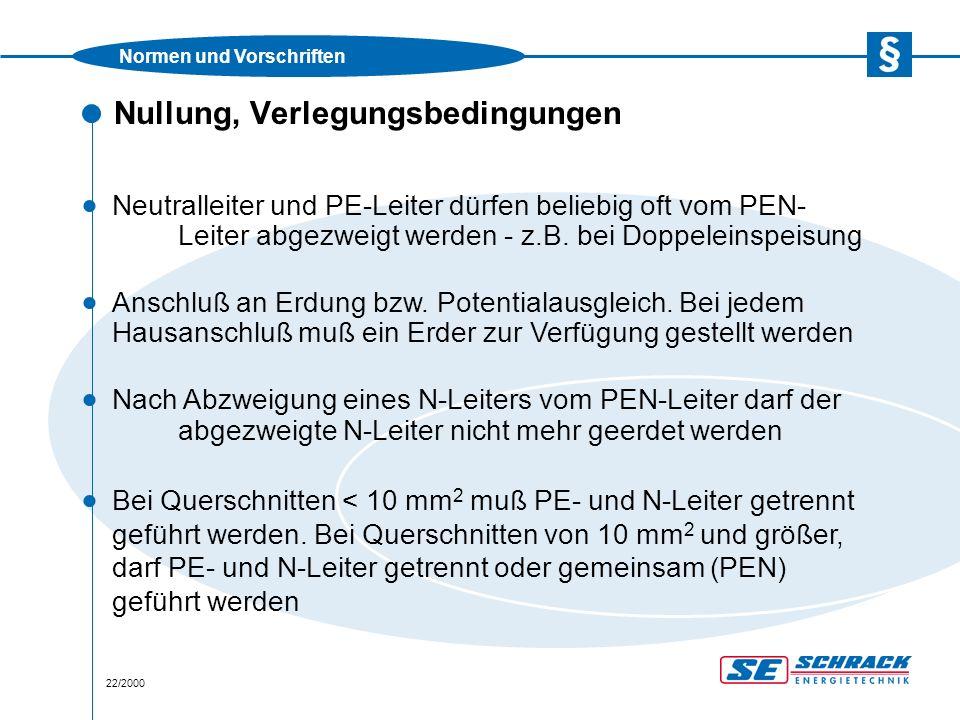 Normen und Vorschriften 23/2000 Nullung, Anwendungsbeispiel (TN-C-System)