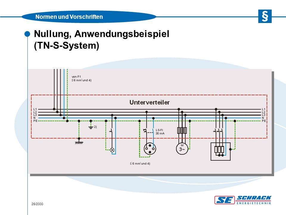 Normen und Vorschriften 25/2000 Nullung, Anwendungsbeispiel (TN-S-System)