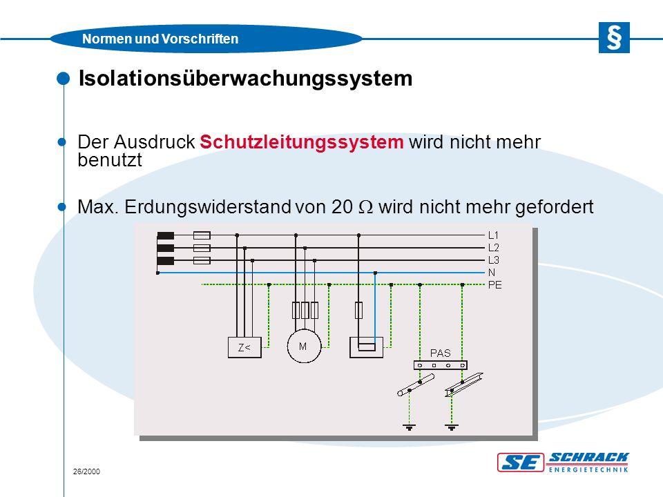Normen und Vorschriften 26/2000 Isolationsüberwachungssystem · Der Ausdruck Schutzleitungssystem wird nicht mehr benutzt · Max.