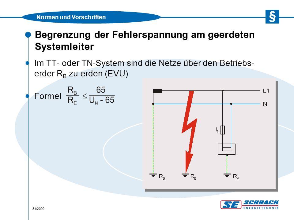 Normen und Vorschriften 31/2000 Begrenzung der Fehlerspannung am geerdeten Systemleiter · Im TT- oder TN-System sind die Netze über den Betriebs- erder R B zu erden (EVU) · Formel