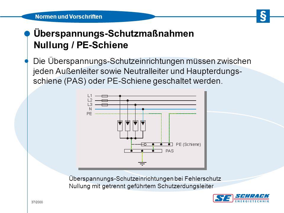 Normen und Vorschriften 37/2000 Überspannungs-Schutzmaßnahmen Nullung / PE-Schiene · Die Überspannungs-Schutzeinrichtungen müssen zwischen jeden Außenleiter sowie Neutralleiter und Haupterdungs- schiene (PAS) oder PE-Schiene geschaltet werden.