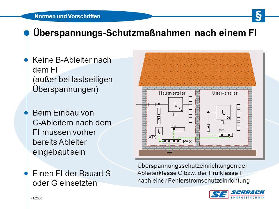 Normen und Vorschriften 41/2000 Überspannungs-Schutzmaßnahmen nach einem FI · Keine B-Ableiter nach dem FI (außer bei lastseitigen Überspannungen) Überspannungsschutzeinrichtungen der Ableiterklasse C bzw.