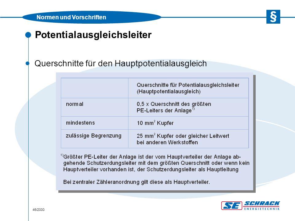 Normen und Vorschriften 46/2000 Potentialausgleichsleiter · Querschnitte für den Hauptpotentialausgleich