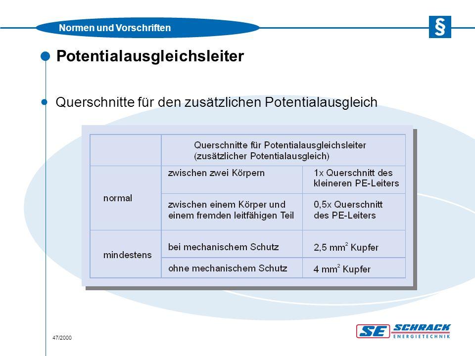 Normen und Vorschriften 47/2000 Potentialausgleichsleiter · Querschnitte für den zusätzlichen Potentialausgleich