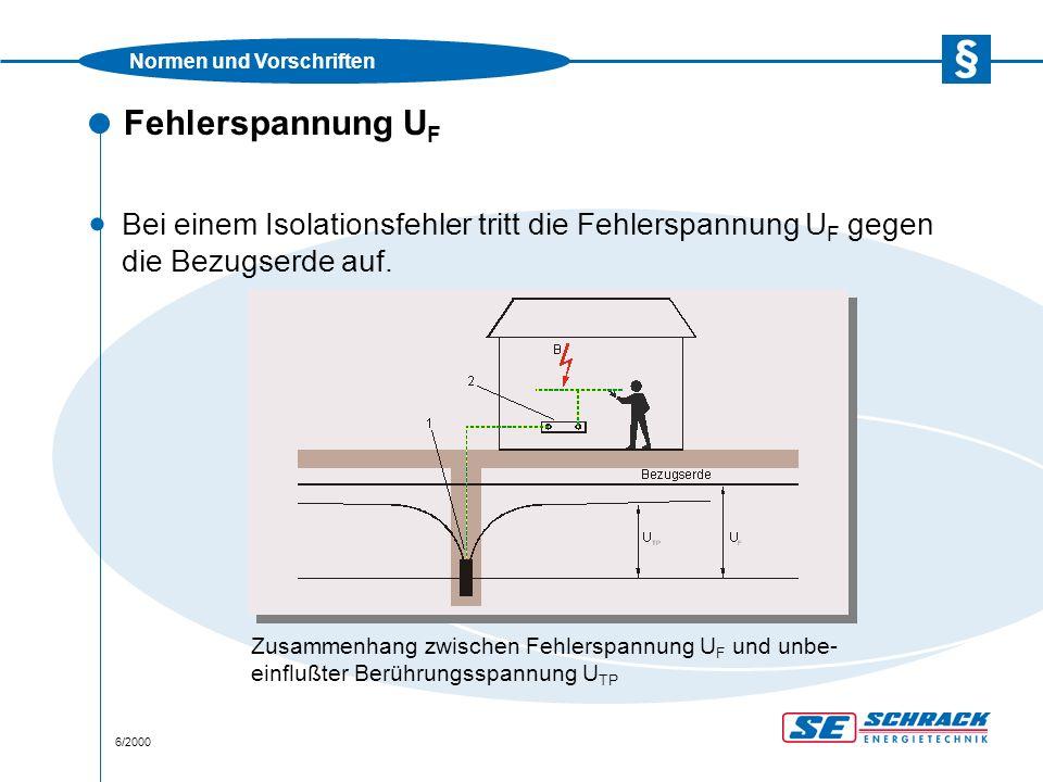 Normen und Vorschriften 6/2000 Fehlerspannung U F · Bei einem Isolationsfehler tritt die Fehlerspannung U F gegen die Bezugserde auf.