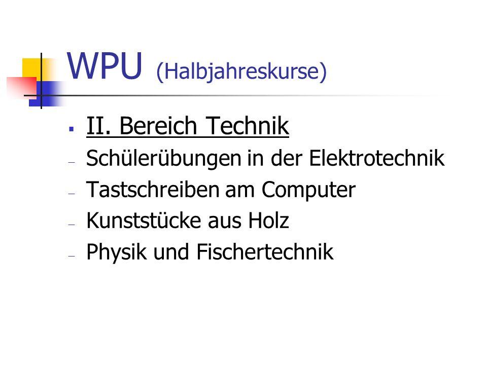 WPU (Halbjahreskurse)  II. Bereich Technik  Schülerübungen in der Elektrotechnik  Tastschreiben am Computer  Kunststücke aus Holz  Physik und Fis