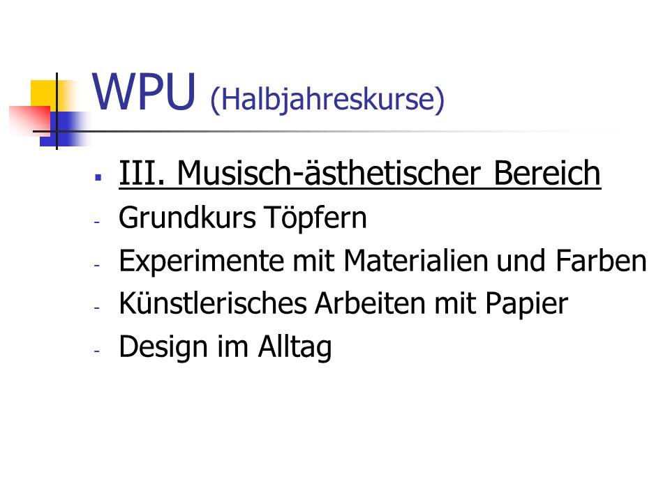 WPU (Halbjahreskurse)  III. Musisch-ästhetischer Bereich - Grundkurs Töpfern - Experimente mit Materialien und Farben - Künstlerisches Arbeiten mit P