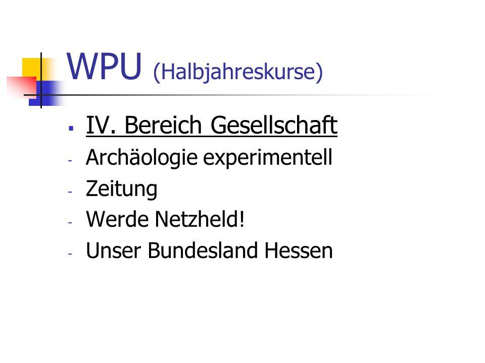 WPU (Halbjahreskurse)  IV. Bereich Gesellschaft - Archäologie experimentell - Zeitung - Werde Netzheld! - Unser Bundesland Hessen