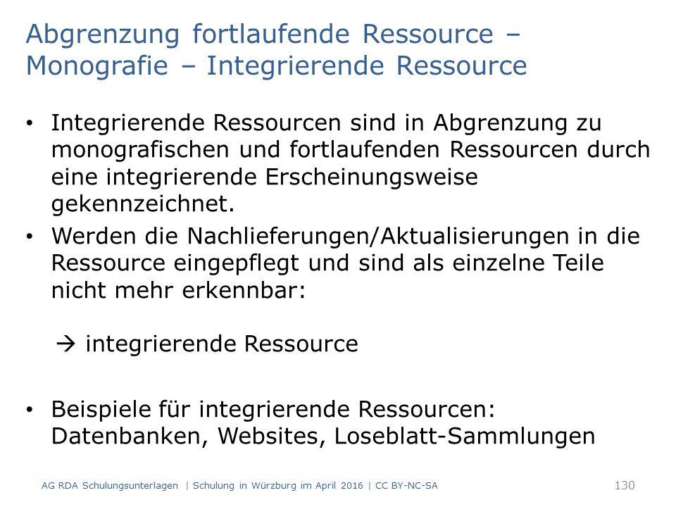 Abgrenzung fortlaufende Ressource – Monografie – Integrierende Ressource Integrierende Ressourcen sind in Abgrenzung zu monografischen und fortlaufenden Ressourcen durch eine integrierende Erscheinungsweise gekennzeichnet.
