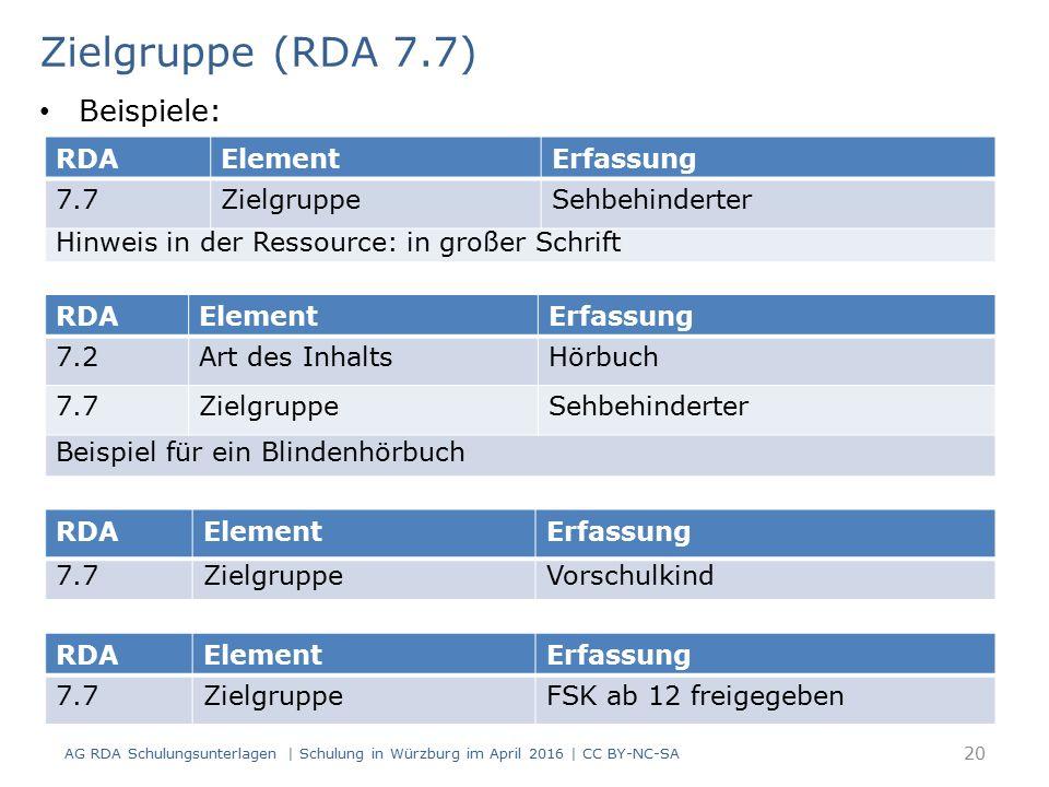 Zielgruppe (RDA 7.7) RDAElementErfassung 7.7ZielgruppeSehbehinderter Hinweis in der Ressource: in großer Schrift RDAElementErfassung 7.7ZielgruppeFSK ab 12 freigegeben Beispiele: RDAElementErfassung 7.7ZielgruppeVorschulkind RDAElementErfassung 7.2Art des InhaltsHörbuch 7.7ZielgruppeSehbehinderter Beispiel für ein Blindenhörbuch AG RDA Schulungsunterlagen | Schulung in Würzburg im April 2016 | CC BY-NC-SA 20