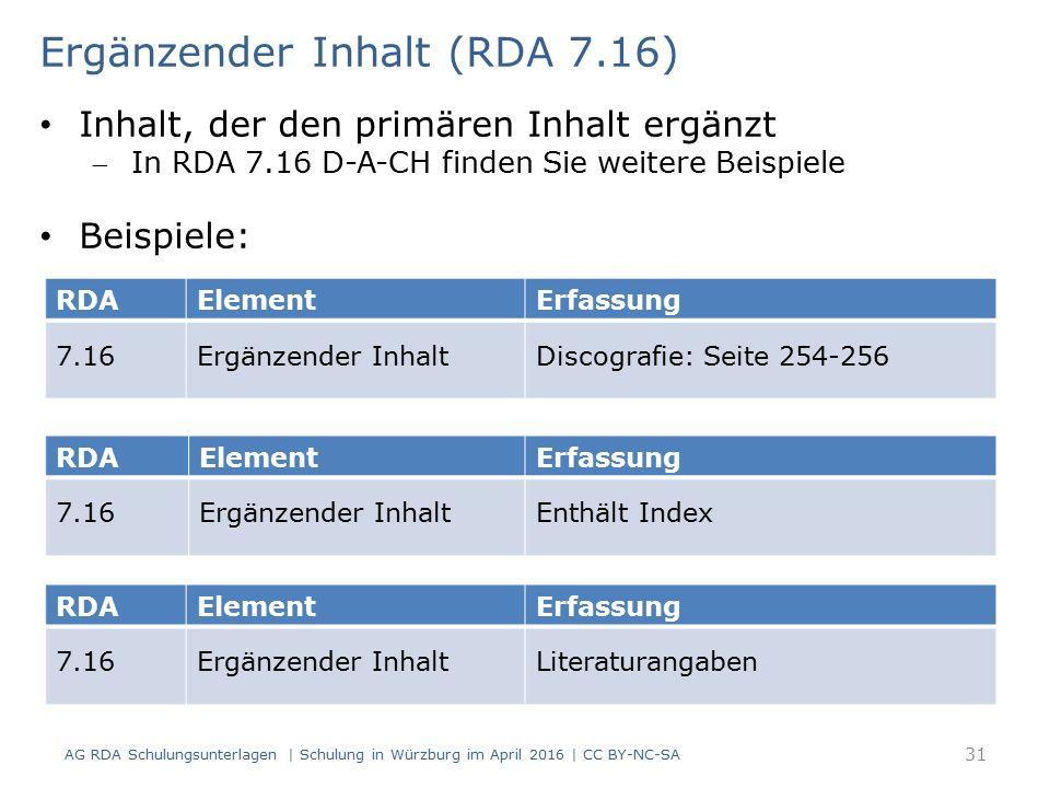 RDAElementErfassung 7.16Ergänzender InhaltDiscografie: Seite 254-256 Ergänzender Inhalt (RDA 7.16) Inhalt, der den primären Inhalt ergänzt In RDA 7.16 D-A-CH finden Sie weitere Beispiele Beispiele: RDAElementErfassung 7.16Ergänzender InhaltEnthält Index RDAElementErfassung 7.16Ergänzender InhaltLiteraturangaben 31 AG RDA Schulungsunterlagen | Schulung in Würzburg im April 2016 | CC BY-NC-SA