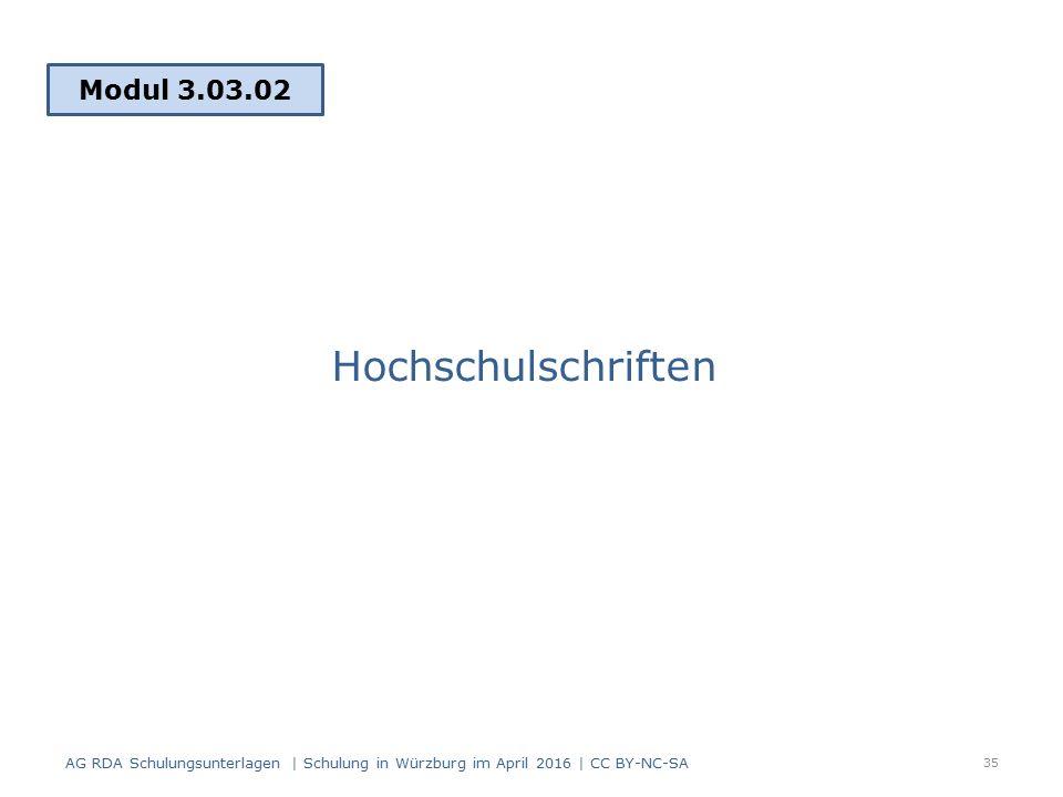 Hochschulschriften Modul 3.03.02 35 AG RDA Schulungsunterlagen | Schulung in Würzburg im April 2016 | CC BY-NC-SA