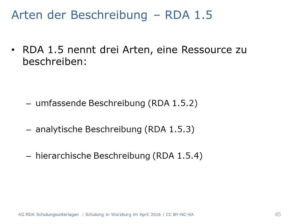 Arten der Beschreibung – RDA 1.5 RDA 1.5 nennt drei Arten, eine Ressource zu beschreiben: – umfassende Beschreibung (RDA 1.5.2) – analytische Beschreibung (RDA 1.5.3) – hierarchische Beschreibung (RDA 1.5.4) 45 AG RDA Schulungsunterlagen | Schulung in Würzburg im April 2016 | CC BY-NC-SA