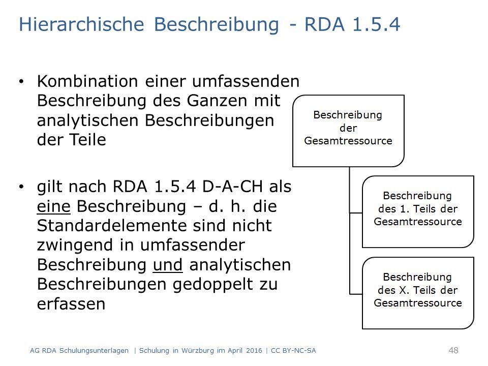 Hierarchische Beschreibung - RDA 1.5.4 Kombination einer umfassenden Beschreibung des Ganzen mit analytischen Beschreibungen der Teile gilt nach RDA 1.5.4 D-A-CH als eine Beschreibung – d.