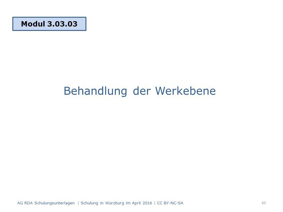 Behandlung der Werkebene Modul 3.03.03 AG RDA Schulungsunterlagen | Schulung in Würzburg im April 2016 | CC BY-NC-SA 60