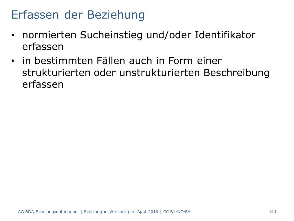 Erfassen der Beziehung normierten Sucheinstieg und/oder Identifikator erfassen in bestimmten Fällen auch in Form einer strukturierten oder unstrukturierten Beschreibung erfassen AG RDA Schulungsunterlagen | Schulung in Würzburg im April 2016 | CC BY-NC-SA 84