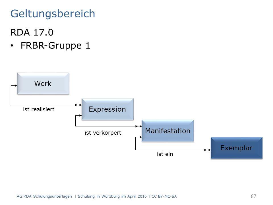 Geltungsbereich RDA 17.0 FRBR-Gruppe 1 AG RDA Schulungsunterlagen | Schulung in Würzburg im April 2016 | CC BY-NC-SA 87 Werk Expression Manifestation Exemplar ist realisiert ist verkörpert ist ein