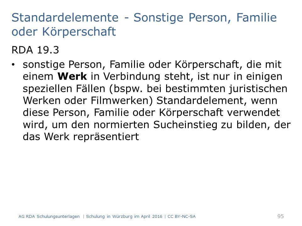 Standardelemente - Sonstige Person, Familie oder Körperschaft RDA 19.3 sonstige Person, Familie oder Körperschaft, die mit einem Werk in Verbindung steht, ist nur in einigen speziellen Fällen (bspw.