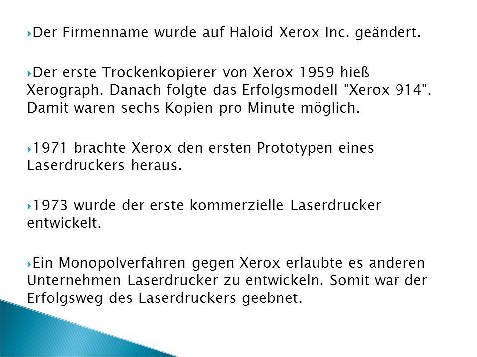  Der Firmenname wurde auf Haloid Xerox Inc. geändert.