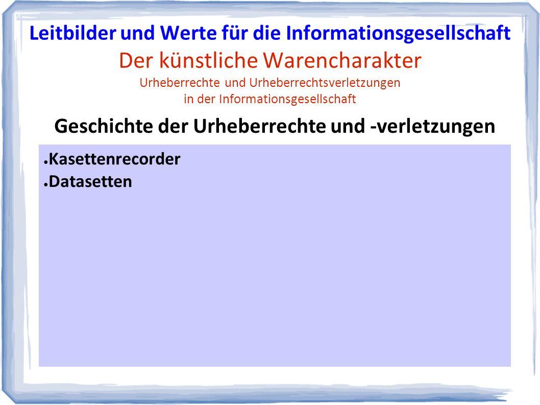 ● Kasettenrecorder ● Datasetten Geschichte der Urheberrechte und -verletzungen Leitbilder und Werte für die Informationsgesellschaft Der künstliche Warencharakter Urheberrechte und Urheberrechtsverletzungen in der Informationsgesellschaft