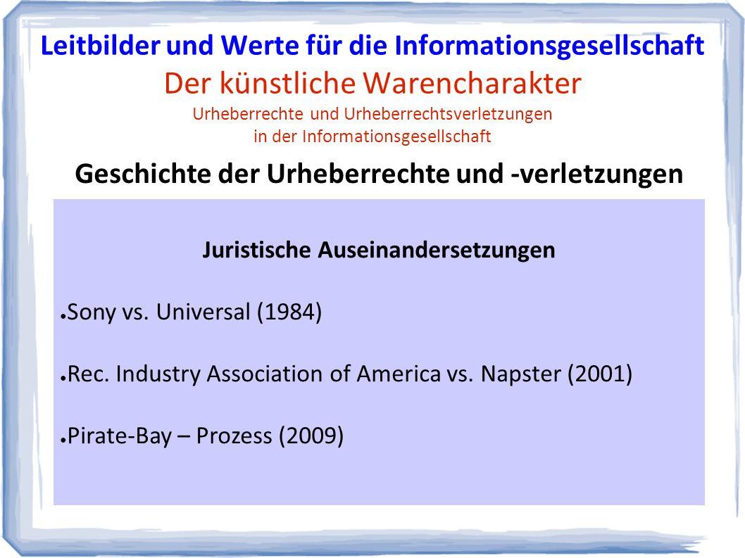 Juristische Auseinandersetzungen ● Sony vs. Universal (1984) ● Rec.