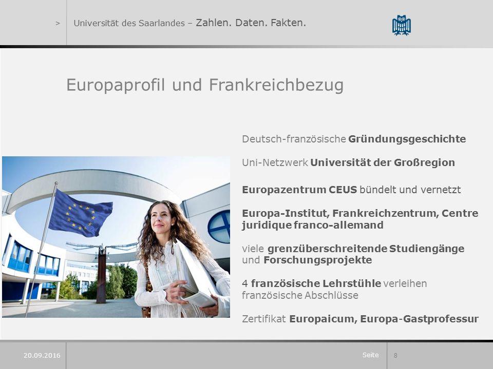 Seite 8 20.09.2016 >Universität des Saarlandes – Zahlen.