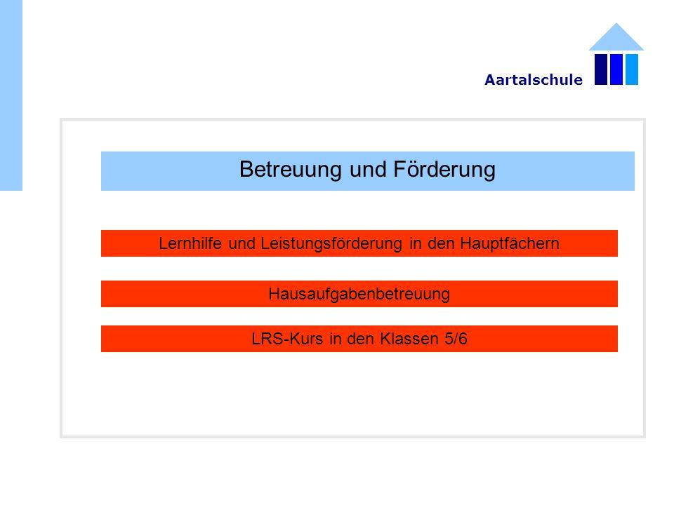 Betreuung und Förderung Lernhilfe und Leistungsförderung in den Hauptfächern Hausaufgabenbetreuung LRS-Kurs in den Klassen 5/6 Aartalschule