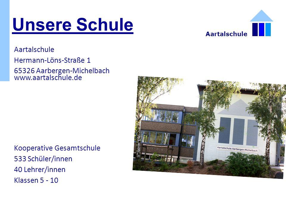 Unsere Schule Aartalschule Hermann-Löns-Straße 1 65326 Aarbergen-Michelbach www.aartalschule.de Kooperative Gesamtschule 533 Schüler/innen 40 Lehrer/innen Klassen 5 - 10 Aartalschule