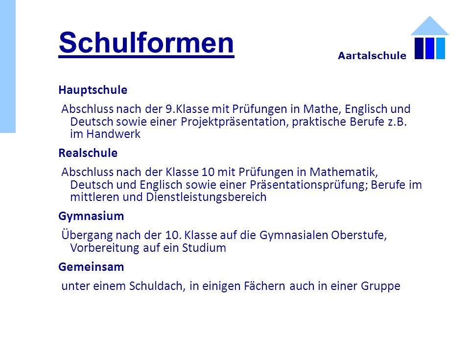 Schulformen Hauptschule Abschluss nach der 9.Klasse mit Prüfungen in Mathe, Englisch und Deutsch sowie einer Projektpräsentation, praktische Berufe z.B.
